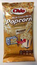 Mikrowellen-Popcorn von Chio mit Karamellgeschmack.