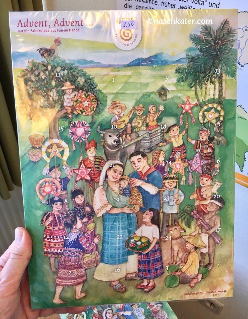 Gepa Adventskalender mit Schokolade