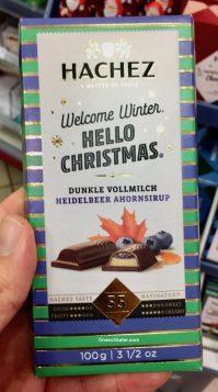 Hachez Welcome Winter Hello Chrstimas Dunkle Vollmilch Heidelbeer Ahornsirup