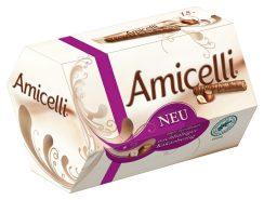 Neue Verpackung für Amicelli von Ritter Sport mit Hinweis auf nachaltig erzeugten kakao.