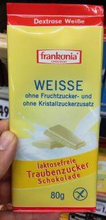 Frankonia Weisse Schokolade ohne Fruchtzucker- und Kristallzucker laktosefrei 80 Gramm