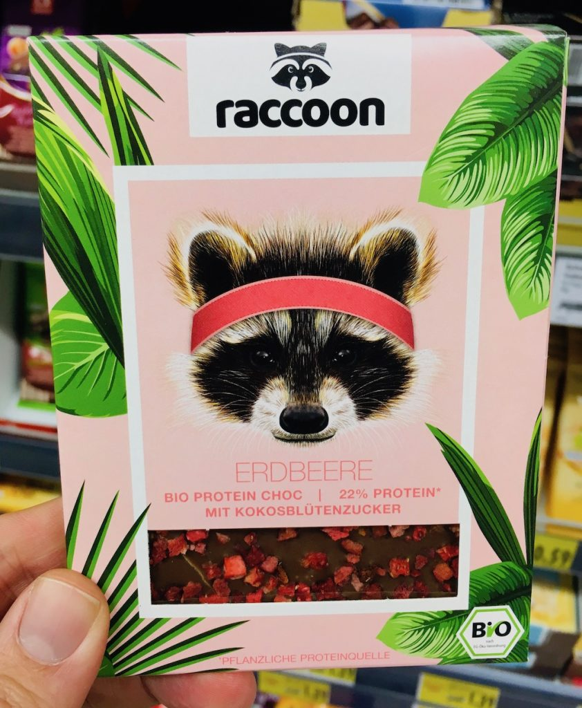 racoon Erdbeere Schokolade Bio Protein Choc 22% Protein mit Kokosblütenzucker