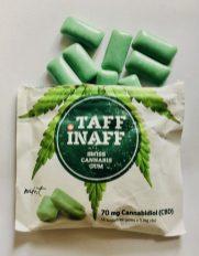 Taff Inaff Swiss Cannabis Gum Mint 14 Stück Zuckerfrei Tagesverzehr auf 1 Stück pro 20 Minuten begrenzt 5mg CBD
