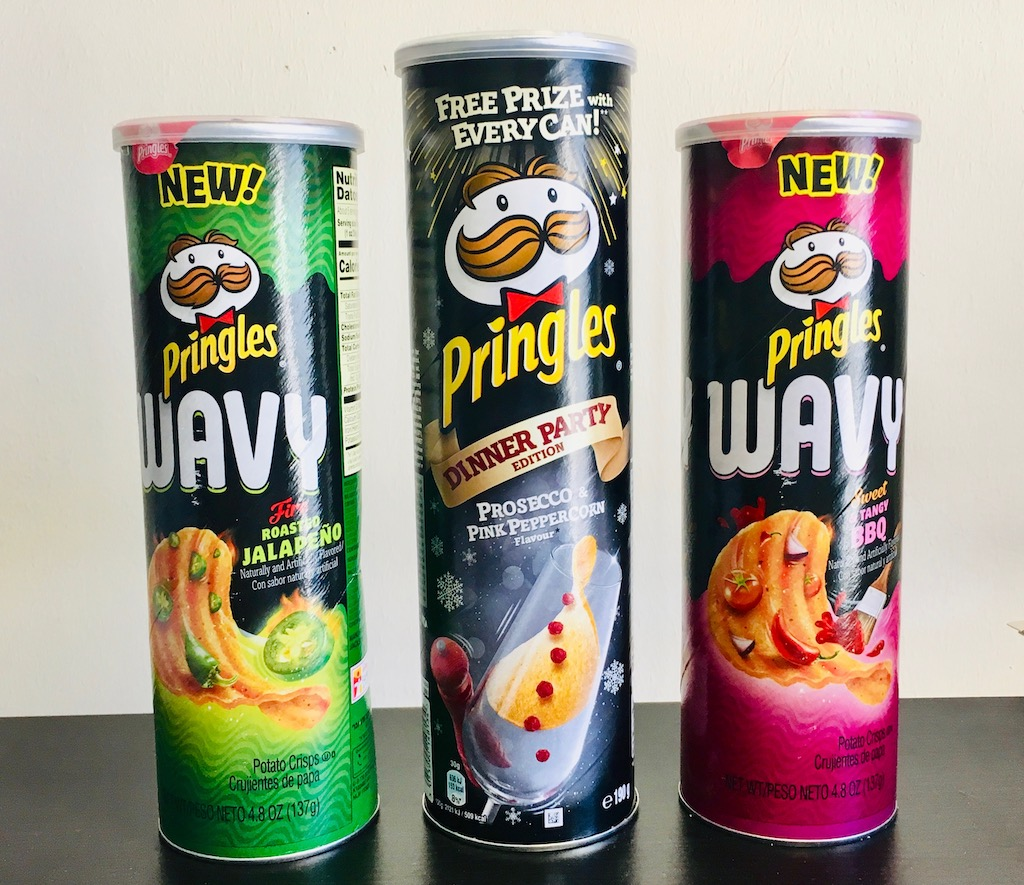Pringles Wavy Jalapeno und Tangy BBQ und Pringles Dinner Party Proescco Pink Peppercorn