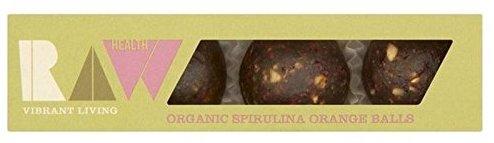 RAW Vibrant Living Health Organic Spirulina Orange Balls Algen-Snack