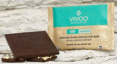 Vivoo Re-Evolution RAW Organic Chocolate bar Spirulina Cashew Coconut Sugar Algensnack