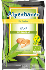 """Alpenbauer hat Bio-Lutschbonbons mit Hanfsamen herausgebracht und schreibt sogar drauf """"schmeckt berauschend"""" - aber berauschen tun sie natürlich nicht. Geschmack ist Mango."""