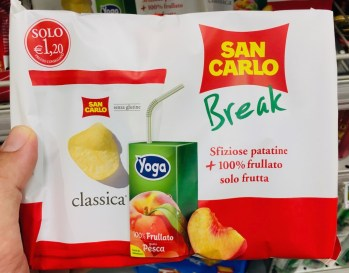 San Carlo Break Pausensnack Chips+Yoga-Pfirsichsaft