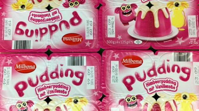 Milbona Himbeerpudding mit Vanillesoße Monstermotiv Pink