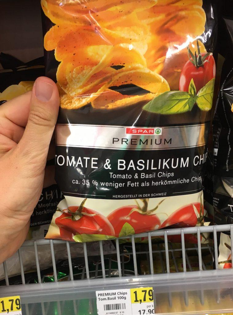 Spar Premium Tomate+Basilikum Chips 35% weniger Fett