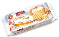 Zuckerfreie Butter-Cockies von der Coppenrath-Bakery - ebenfalls mit der praktischen Verschlusslasche auf der Packungsoberseite.