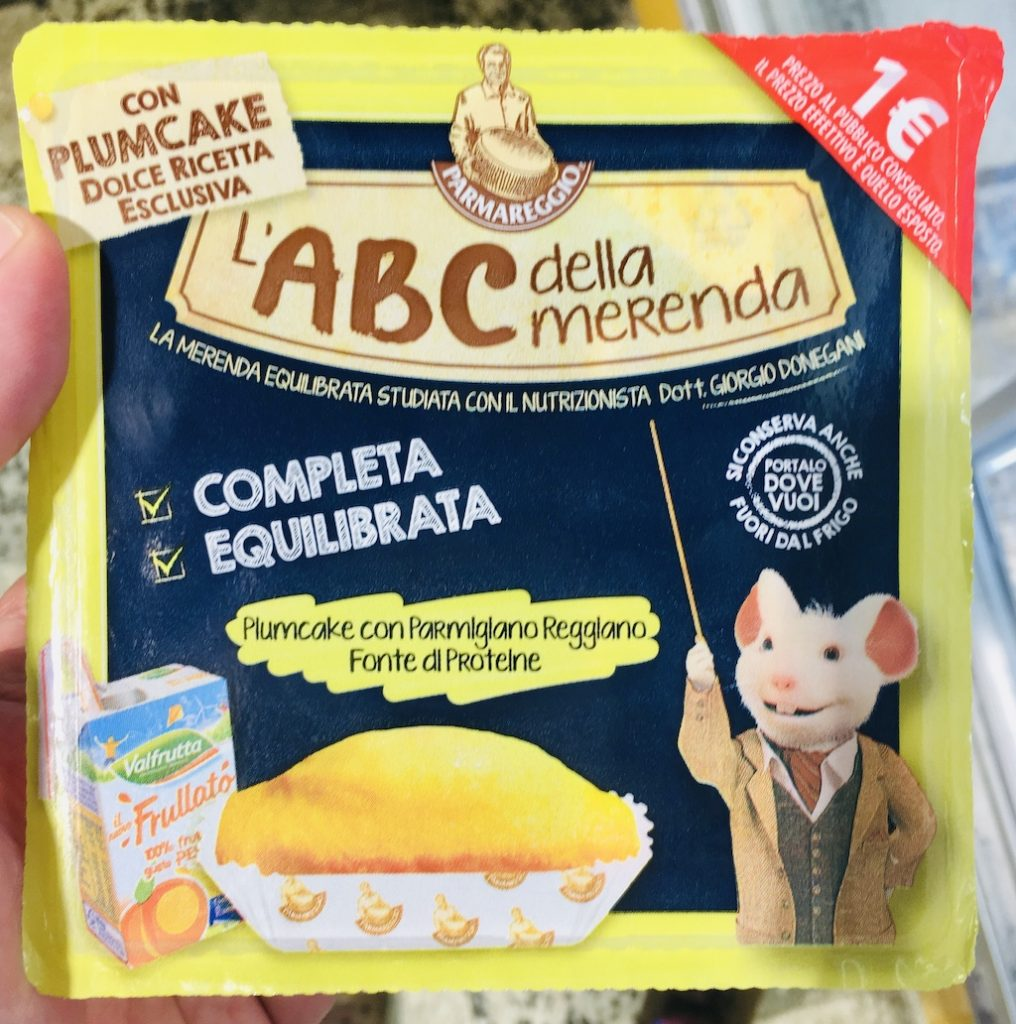 LABC della Merenda Plumcake mit Fruchtsaft Pausenbrot Schüler Italien