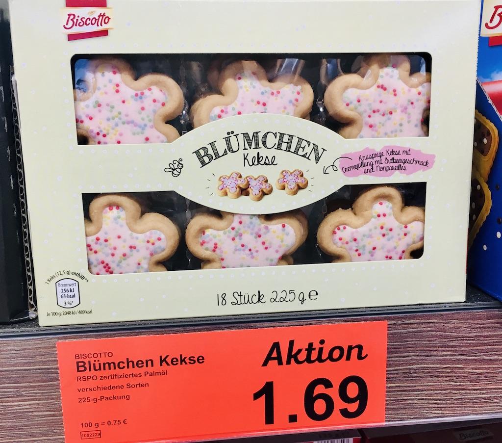Aldi Biscotto Blümchen-Kekse mit Streuseln 225 Gramm