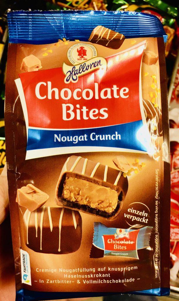 Halloren Chocolate Bites Nougat Crunch Haselnusskrokant in Schokolade Einzeln verpackt
