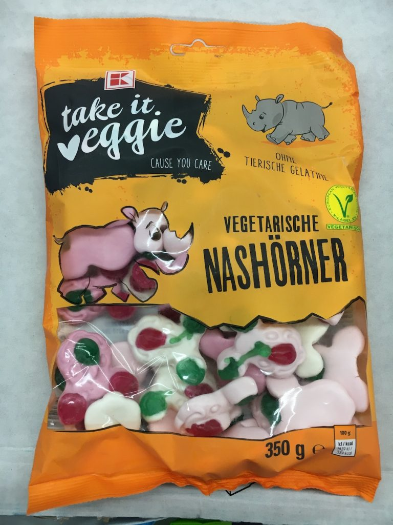 Kaufland takeit veggie Vegetarische Nashörner 350 Gramm Schaumzucker und Fruchtgummi