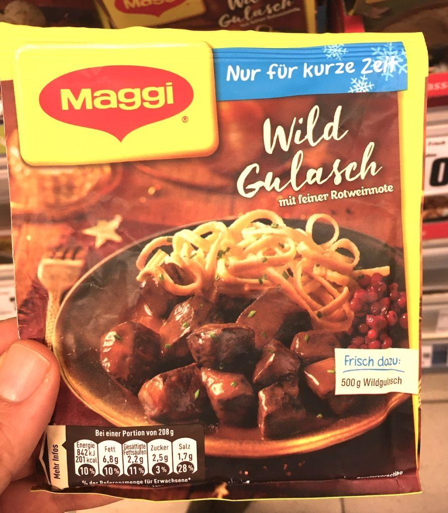 Maggi Wildgulasch mit feiner Rotweinnote