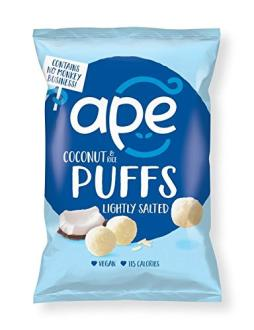 Ape Coconut Puffs, leicht gesalzen, 25 Gramm.