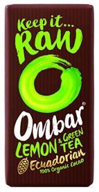 Ombar-Schokolade mit Zitrone und Grünem Tee als Geschmacksrichtung.