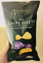 Aldi Gourmet Salz Chips Duett mit natürlichen Kartoffeln - lila Kartoffeln 100 Gramm