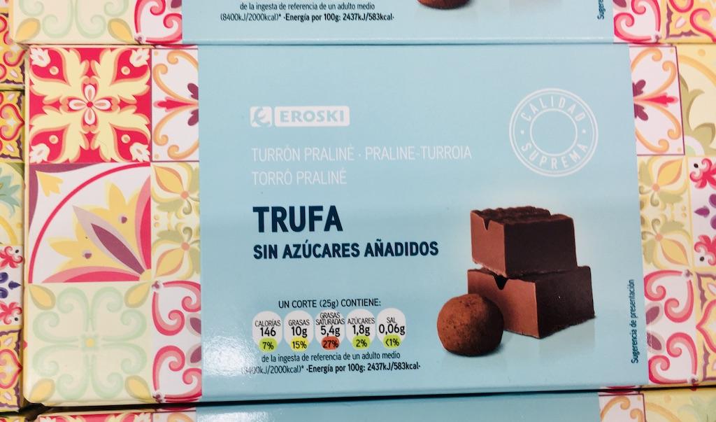 Eroski Turron Praliné Trufa ohne Zucker