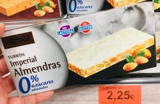 """Hacendado Turron mit ganzen """"Imperial Almendras""""und 0% Zucker Laktosefrei"""