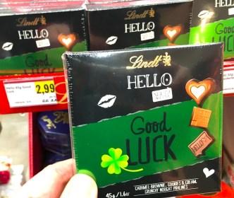 Lindt Hello Good Luck 45 Gramm Caramel-Brownie-Cookies+Cream-Crunchy Nougat-Pralines Neujahr