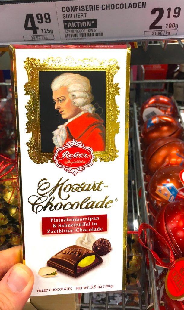 Reber Mozart-Chocolade Pistazienmarzipan+Sahnetrüffel in Zartbitterschokolade 100 Gramm
