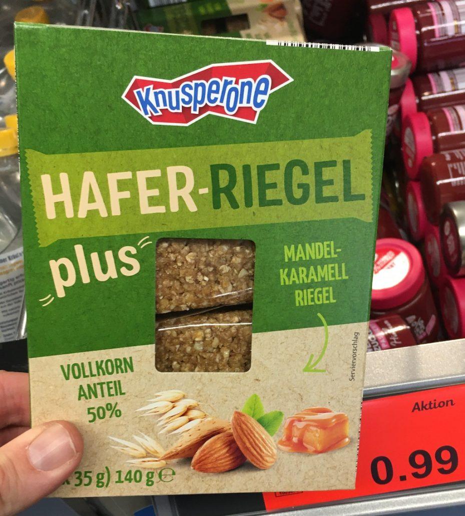 Aldi Knusperone Hafer-Riegel Plus Mandel-Karamell-Riegel mit 50% Vollkornanteil 4×35 Gramm