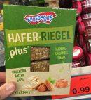 Aldi Knusperone Hafer-Riegel Plus Mandel-Karamell-Riegel mit 50% Vollkornanteil 4x35 Gramm
