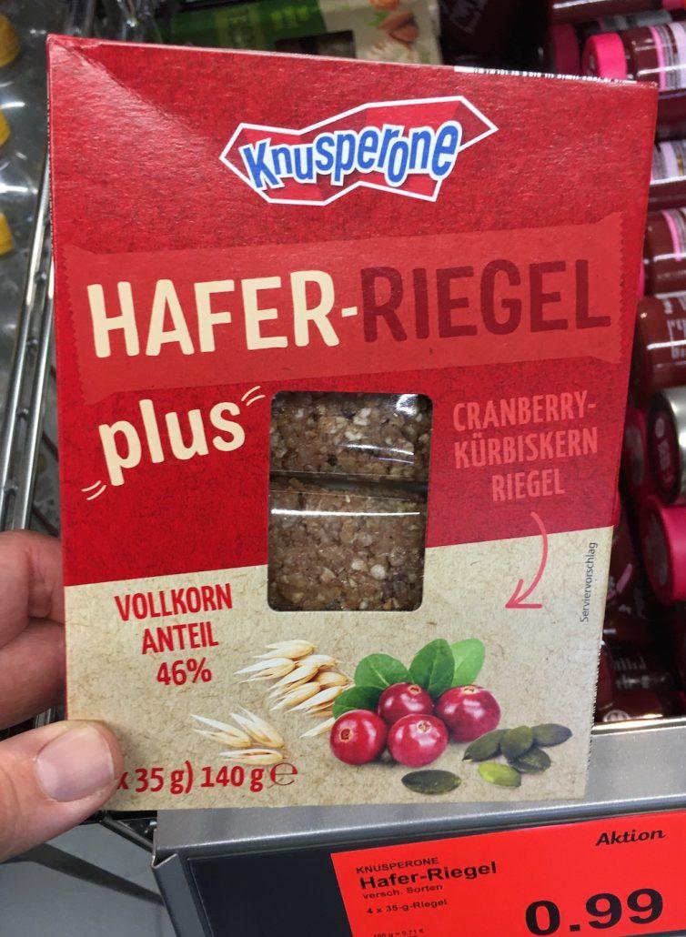 Aldi Knusperone Hafer-Riegel plus Cranberry-Kürbiskern-Riegel mit 46% Vollkorn-Anteil 4×35 Gramm 140 Gramm