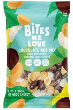Bites we Love Chocolate Nut Mix mit dunkler Schokolade-Kokosnuss und Erdnüssen