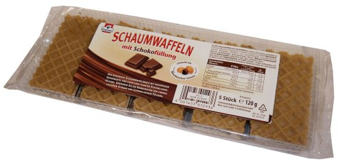 Grabower Schaumwaffeln-mit Schokofüllung 5Stück 120 Gramm