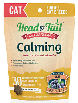 Head to Tail Calming Chicken Liver Flavored Daily Cat Chews made with real Blueberries