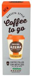 Nescafe Azera to go Cappuccino Coffee fillied Cups with lids 4 x 20g