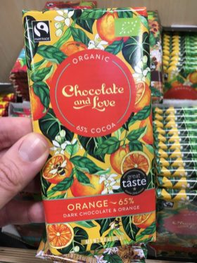 Organic Chocolate and Love Orange Fairtrade 80 Gramm Tschechien Orangen und Bienenmotiv