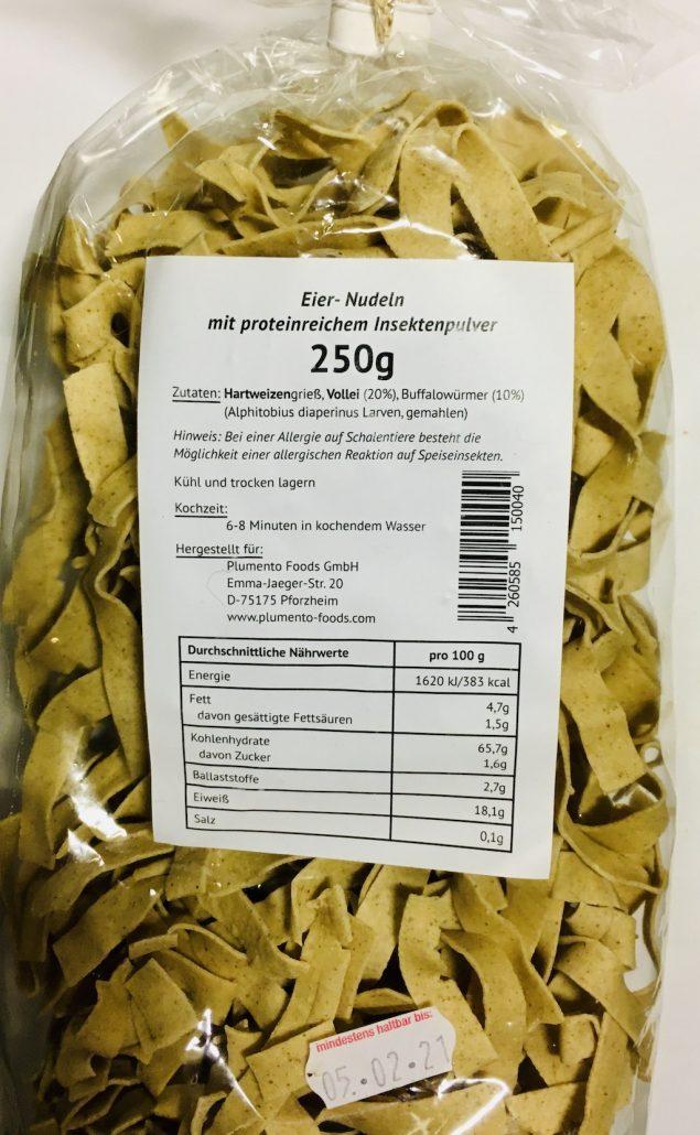 Plumento Foods Eiernudelnmit Insektenpulver 250 Gramm