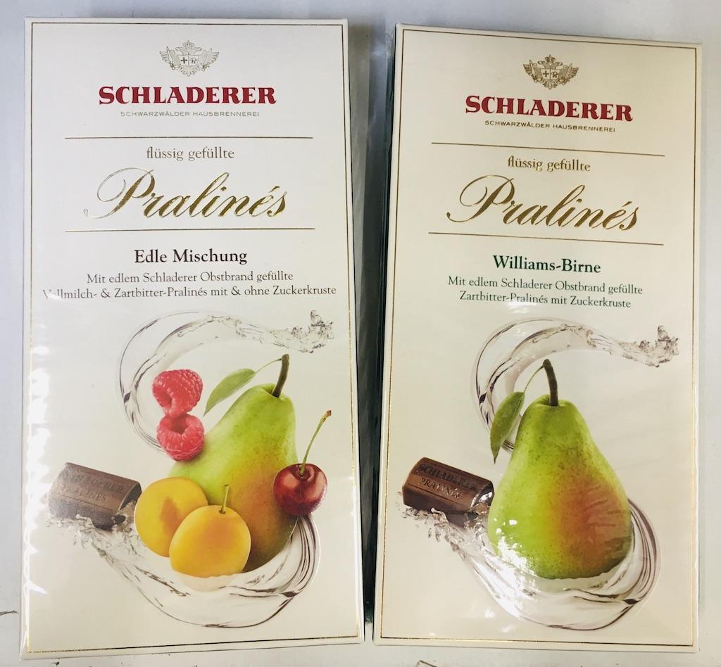 Schladerer Flüssig gefüllte Pralinés Edle Mischung mit Obstbran ohne und Williams-Birne mit Zuckerkruste