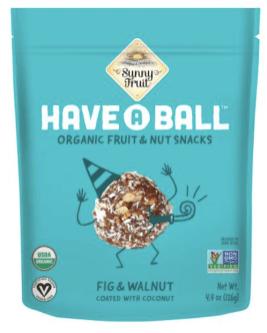 Sunny Fruit Have A Ball Organic Fruit+Nut Snacks Feige und Walnuss mit Kokosnuss 126 Gramm