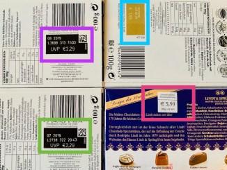UVP Unverbindliche Preisempfehlung bei Süßwaren Lindt