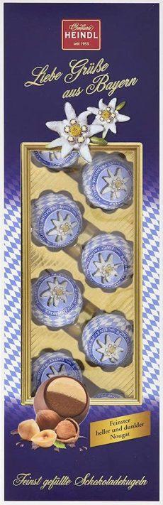Confiserie Heindl Bayernkugeln Schokoladenkugeln mit hellem und dunklem Nougat