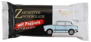 Rotstern Zartbitter-Schokolade mt Puffreis Trabant-Motiv
