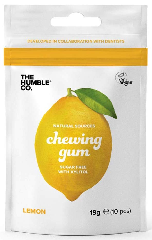 The Humble Co Natural Sources chewing Gum Sugar free with Xylitol Lemon 19 Gramm 10 Stück
