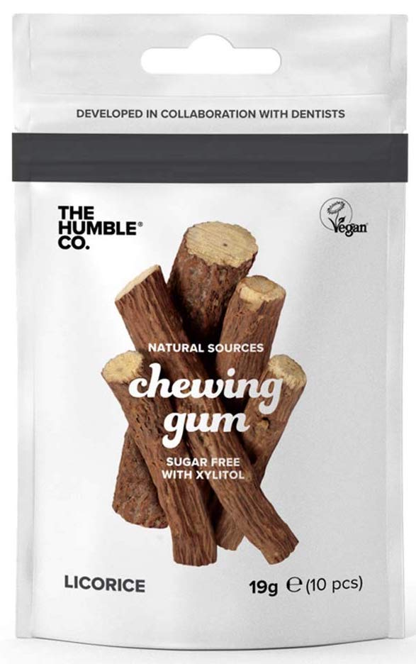 The Humble Co Natural Sources chewing Gum Sugar free with Xylitol Licorice 19 Gramm 10 STück
