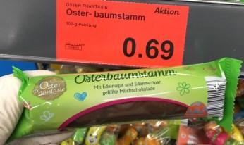 Aldi OsterPhantasie Osterbaumstamm mit Edelnugat und Edelmarzipan gefüllte Milchschokolade 100 G