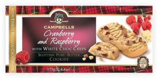 Campbells Cranberry and Raspberry White Choc Chips Scottish Cookies 125G
