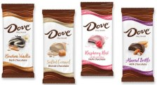Dove Silky Smooth Bourbon Vanilla Dark Chocolate-Salted Caramel Blonde Chocolate - Raspbery Rosé Dark Chocolate - Almond Brittle Milk Chocolate