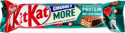 Nestlé KitKat Chunky mit Himbeeren und Haselnuss Protein 30% weniger Zucker