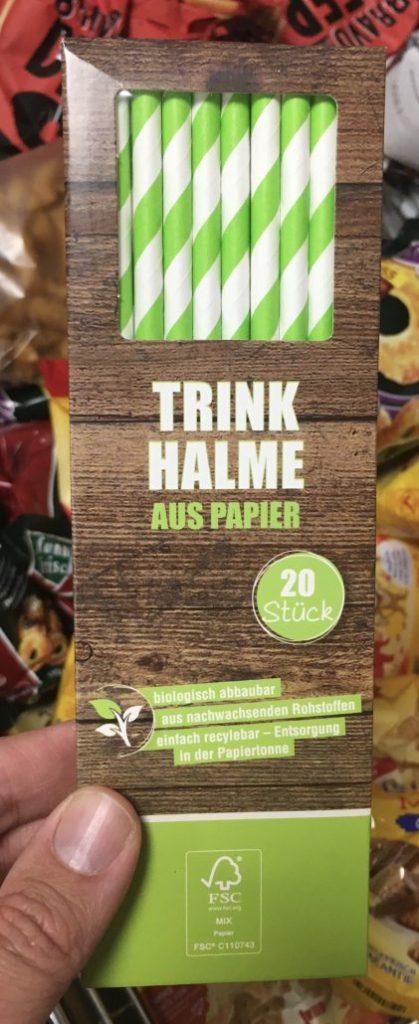 Trinkhalme aus Papier grün-weiß gestreift 20 Stück Penny
