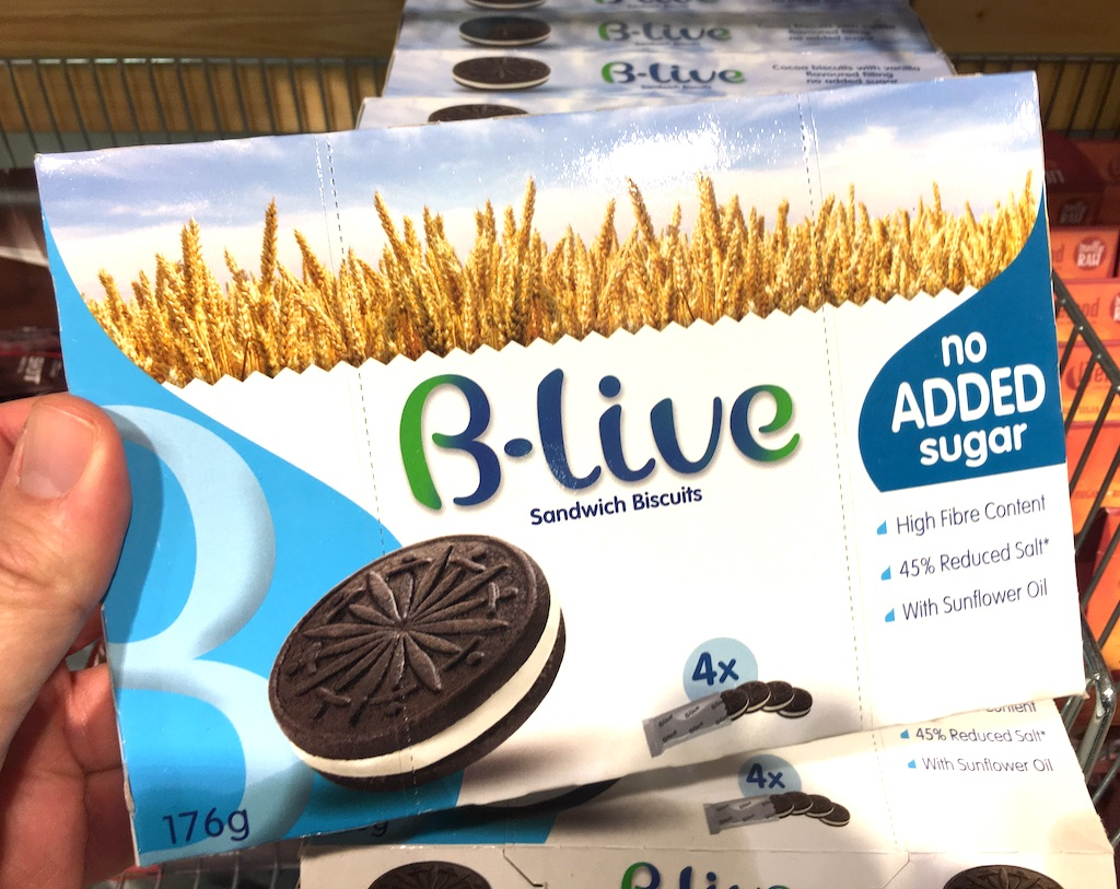 B-live Sandwich Biscuit Oreo Black&White no added Sugar-High Fiber-45% reduced Salt-Sonnenblumenöl 176G