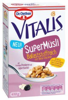 Dr. Oetker Vitalis SuperMuesli Ballaststoffreich Beta-Glucanen Brombeere Joghurtkonfekt